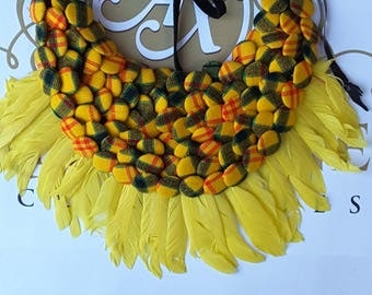African fabric statement buttoned bib necklace