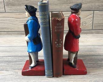 Cast Iron Revolutionary War Soldier Bookends