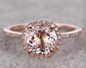 1.25ct Round Cut Morganite Engagement Ring 14k Rose Gold Gemstone Promise Bridal Ring For Women