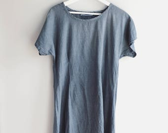 vintage 100% Linen dress custom hand-dyed color (stone blue) eco-friendly & sustainable