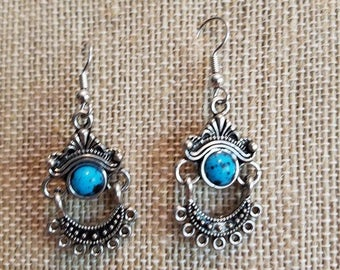 Handmade boho earrings/gorgeous silver and turquoise drop earrings - simple design