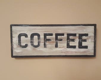 "Vintage Replica Wood ""COFFEE"" sign"