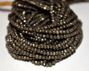 Pyrite Faceted Rondelle Gemstones,  - Natural Pyrite Gemstone Beads - AAA Quality Micro Faceted Rondelle