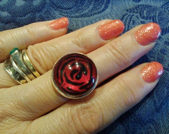 Ring - deep red and black abstract rose design