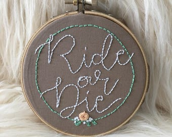 Ride or Die Embroidery Wall Art