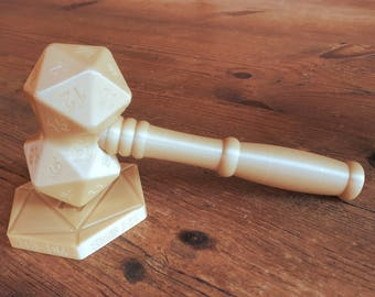 D20 DnD dice Judge Gavel | Dungeons and Dragons | DM gift | DnD gift | D20 accessory | Ringmaster | Polyhedral | Custom | 3d printed model