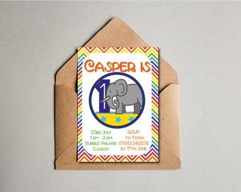 Chevron Elephant Birthday Invitation, Rainbow Elephant Printable, 1st Birthday, Children's Party Invite, Kids Invite, Custom Printable