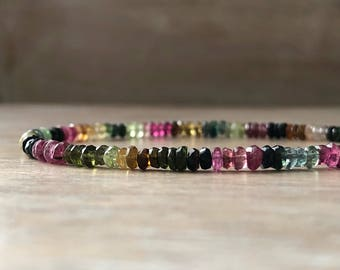 Mens Tourmaline Bracelet Watermelon Tourmaline Bracelet Mens Gemstone Bracelet for him Multi Gemstone Bracelet Multi color bead Bracelet Men
