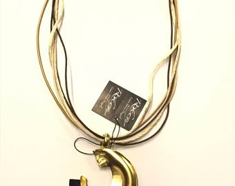 Brass necklace bathed in gold 80000509