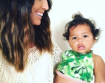 Baby sunuit- Toddler clothing- Boho Baby- 2 piece clothing sets- Palm Leaves