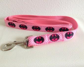 Pink Batman Dog Leash, Pink Leash, Batman Leash, Heavy Duty Leash, Girl Dog Leash