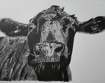 Cow Ink Art Drawing Print High Quality