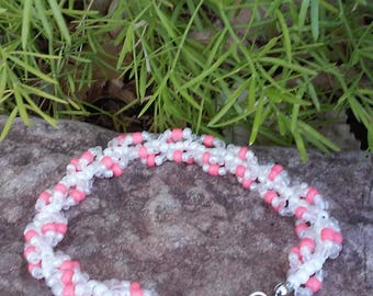 White & Peach Spiral Beaded Bracelet