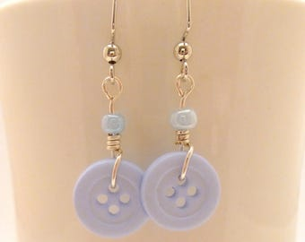 Pastel Blue Button Earrings