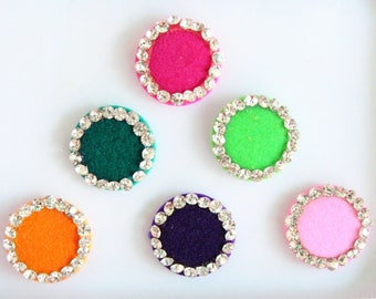 6 Colorful Round Wedding Bindis ,Round Bindis,Velvet Colorful Bindis,Colorful Face Jewels Bindis,Bollywood Bindis,Self Adhesive Stickers