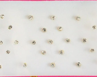 58 Silver Stones Gold Base 1 mm, 2mm, 3mm Bindis, Indian Bindis Sticker, Nose Studs Stickers, Fake Nose Stickers, Small Stone Bindi Stickers