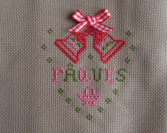Stitch Happy Easter Cross, bells and gingham Ribbon