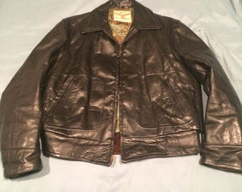 "1950s Mens Nelco Gold Medal Creation ""Winward"" style Black Horsehide Leather Jacket Sz 44"