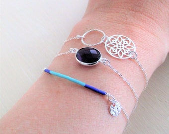 Set of three bracelets in solid 925 sterling silver, Amethyst, miuki carved rosette stone.