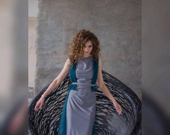 Fashion open V back grey maxi evening dress, jersey, tulle, sleeveless