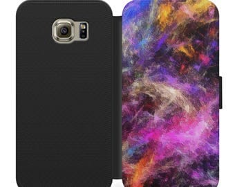 Pink and purple paint splatters flip wallet phone case for iphone 4 5 6 7 8 8 plus Samsung s2 s3 s4 s5 s6 s7 S8 S8 plus and more