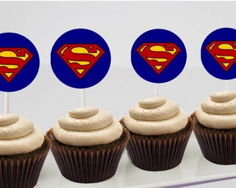 Superman Cupcake Toppers - Birthday Party Printables - PDF Digital File - 2 inch round- Superman birthday, Superman Party, DIY Superman