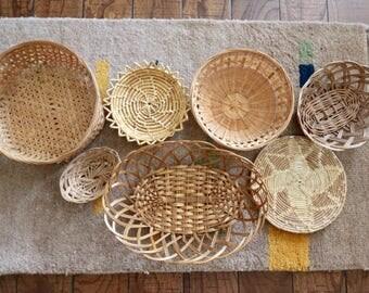 Wall Basket set of 7, Wall Basket Decor, Wall Basket, Hanging Woven Basket Set