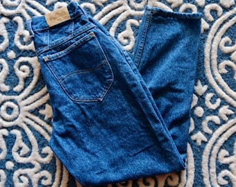 Vintage Mom Jeans, High Waisted LEE Denim, Tapered, Dark Blue, 80's Fashion