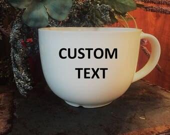 CUSTOM COFFEE MUG, 14 ounce mug, vinyl text, personalized mug, customized mug, personalized gift