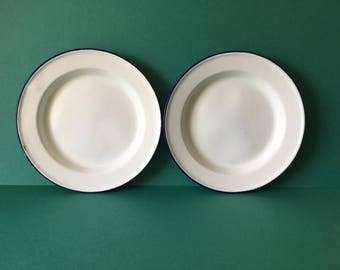 2 x white with blue edging vintage enamel plates/soup plates