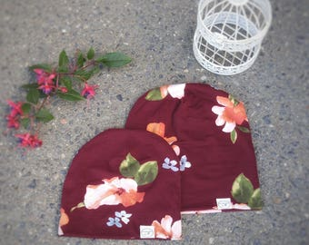 Foral Blossom Cranberry Beanie