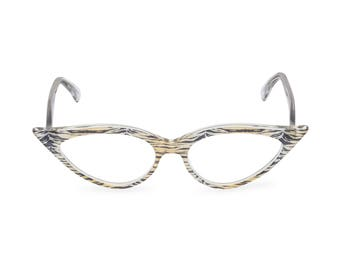 Outrageous dramatic & sexy almond shape Cat Eye Glasses Handmade 'JEANNE' Crystal Tiger Vintage style spectacle frame ready for your Rx