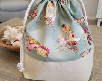 Knitting Project Bag, Crochet Project Bag, Vintage Style Fabric Bag