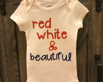 Red White and Beautiful Onesie