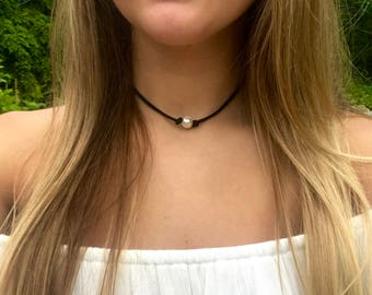 Knotted Pearl Choker on Suede