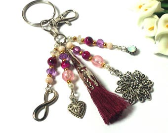 Keychain Flower - Keychain Tassel - Keychain Heart - Keychain Infinity Sign - Diamond - Gift for Girls / Women