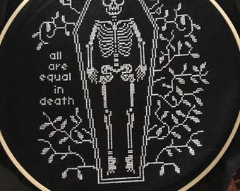 Skeleton Cross stitch - Hand made and stitched
