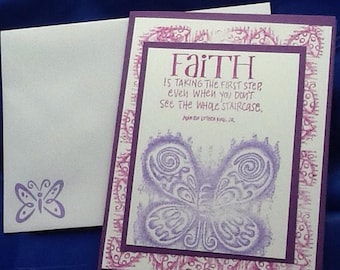 5 Purple Encouragement Cards Handmade Christian Scripture Messages. Use for Get Well too.
