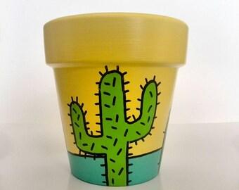 Hand-painted cactus flowerpot. Painted Flower Pot