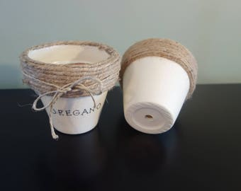 Twine wrapped clay flower pot