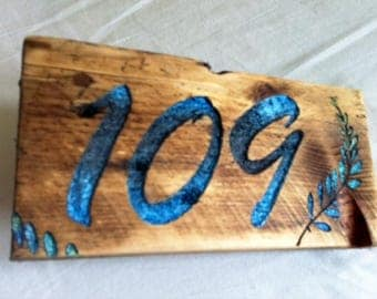 Hand made reclaimed wood House number sign