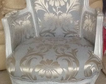 French style grey boudoir chair