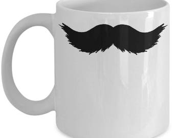 Mustache Coffee Mug - Funny Hipster Facial Hair Joke Gift