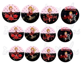 digital images 50mm and 60mm for mirrors or other print miss fairy ballerina