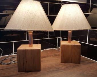 Lovely handmade Oak lamps