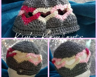 Heart Beanie, Heartlink hat, Toddler hat, hearts