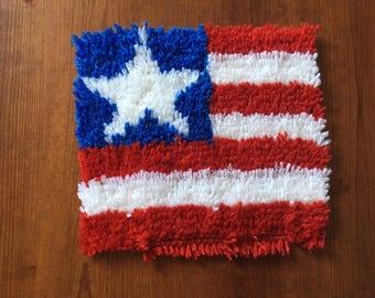 American Flag Latch Hook Rug