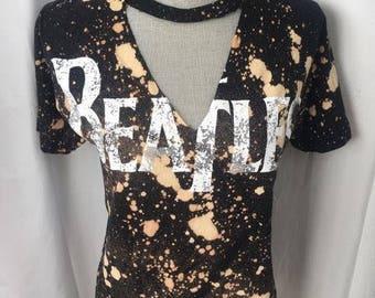 Vintage Beatles acid wash cut out tee shirt