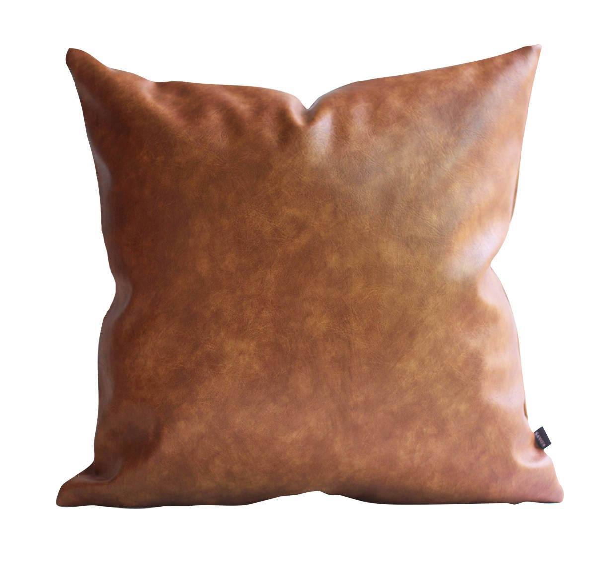 Kdays Thick Faux Leather Tan Pillow Cover Decorative For Couch