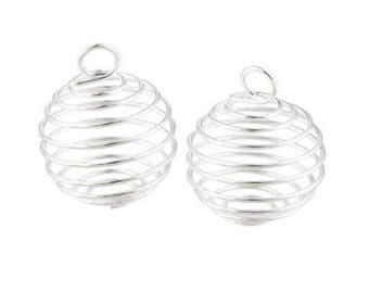 Spiral wire cage for 14-20 mm beads